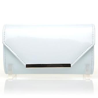 PIXIE White Patent PU Leather Medium Size Clutch Bag