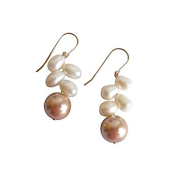 Gemshine - ladies - earrings - bead - champagne - white - gold plated - 3 cm