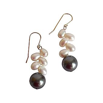 Gemshine - ladies - earrings - gold plated - Pearl - White - Tahiti - grey - drops - 3 cm