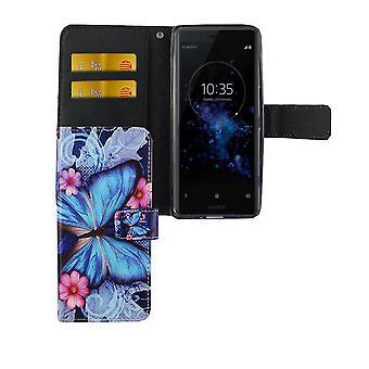 الحقيبة حالة الهاتف الجوال للهاتف سوني إريكسون XZ2 ضغط الفراشة الزرقاء
