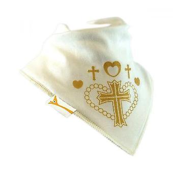 White & gold cross bandana bib