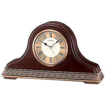 Seiko QXE017B Wooden Mantel Clock - Brown
