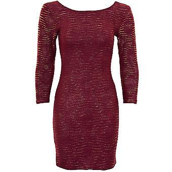 Ladies 3/4 Sleeve Crinkle Diamond Glittery Women's Low Back Bodycon Dress