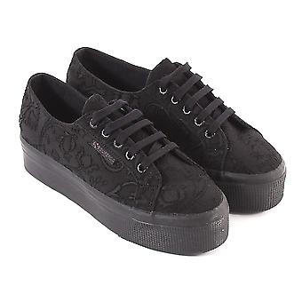 Superga Women's 2790-EMBROIDERYFLOWERCREPEW Canvas Trainer Full Black