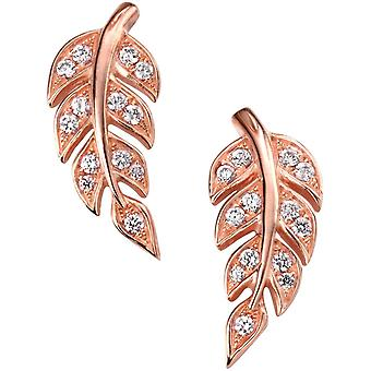 Elements Silver Rose Gold Plated Cubic Zirconia Leaf Earrings - Rose Gold
