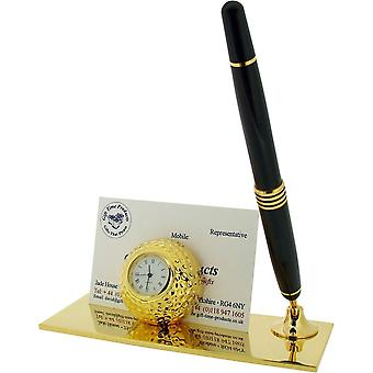 Gift Time Products Golf Ball Card Holder and Pen Clock - Gold