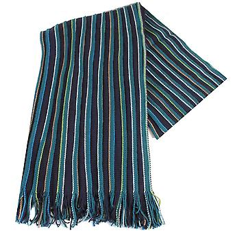 Bassin and Brown Barnes Striped Wool Scarf - Navy/Green/Blue
