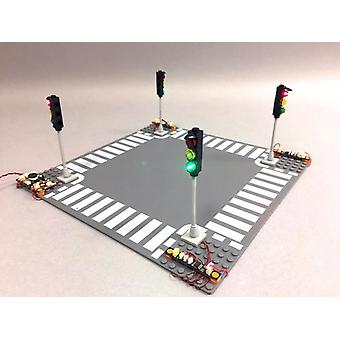 Brickstuff Deluxe 4-Way LED Traffic Light Intersection Kit - Unmounted Pico LEDs (For Your Own Design) - KIT17D-LEDS