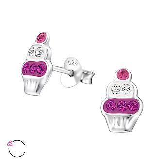 Cupcake - 925 Sterling Silver Crystal Ear Studs - W32784x