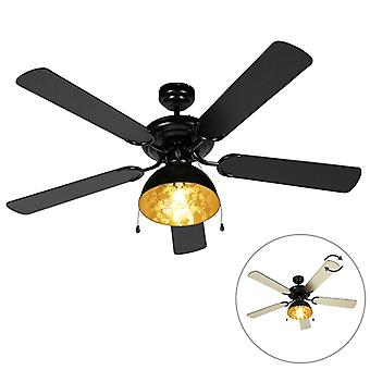 QAZQA Industrial Ceiling Fan with Light 132cm Black - Magna