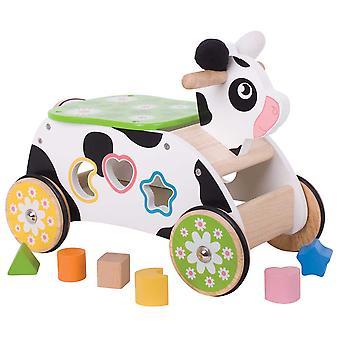 Bigjigs speelgoed houten koe ritje op vorm sorteerder, educatieve op zitten duwen langs
