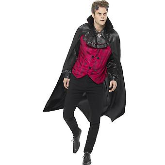 Smiffy's Dapper Devil Costume, Red, With Waistcoat, Attached Mock Shirt & Cape
