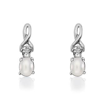 14k White Gold Oval Freshwater Cultured Pearl and Diamond Earrings