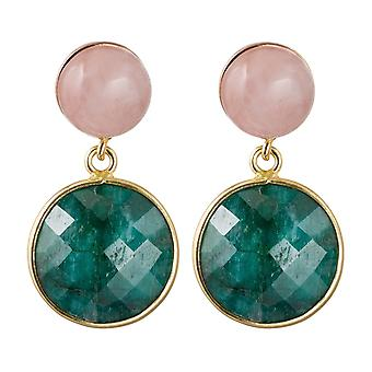 Gemshine ladies earrings with Emerald and Rose Quartz gemstones. High quality gold plated made in Spain 925 Silver - more sustainable,