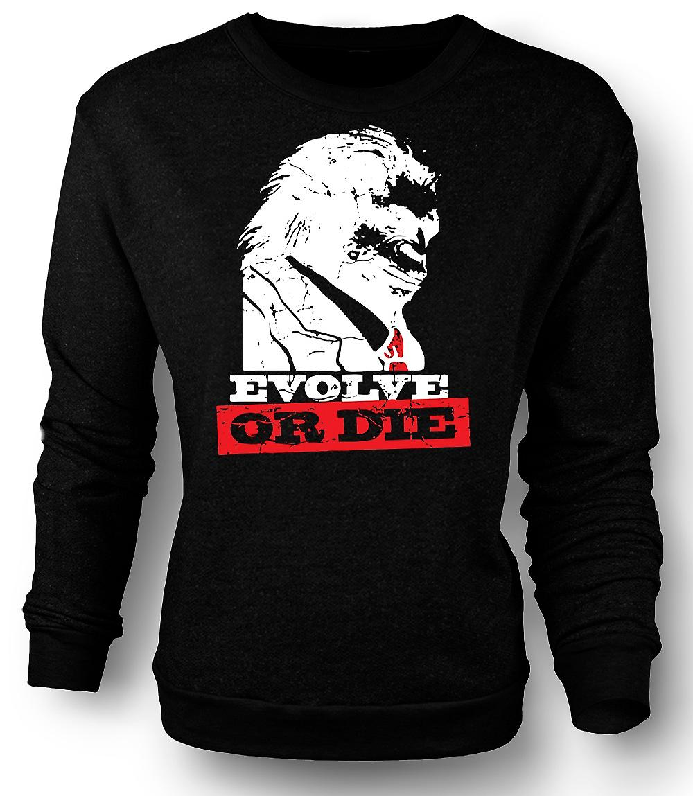 Mens Sweatshirt Evolve Or Die Planet Of Apes - Funny Retro