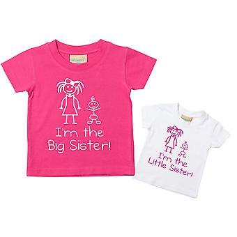 Я маленькая сестра, я большой набор Tshirt сестра