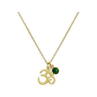Gemshine YOGA Meditation Ohm Halskette aus 925 Silber, vergoldet oder rose. 2 cm Anhänger mit grünem Smaragd. Nachhaltiger, qualitätsvoller Schmuck Made in Spain