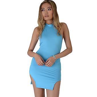 Lovemystyle Electric Blue Bodycon Dress With Cut Out Hem Line