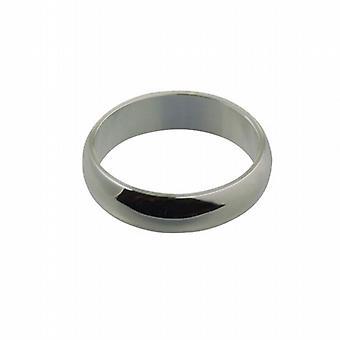 9ct White Gold 6mm plain D shaped Wedding Ring Size Q