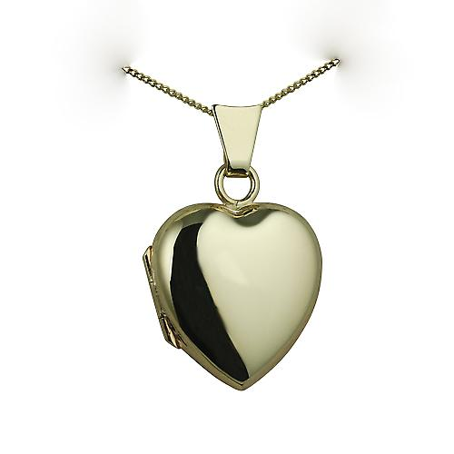 9ct Gold 17x16mm plain heart Locket with a curb chain
