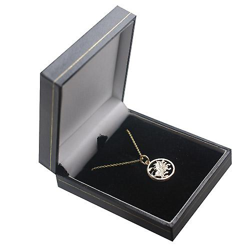 9ct Gold 11mm pierced Leo Zodiac Pendant with Cable link Chain