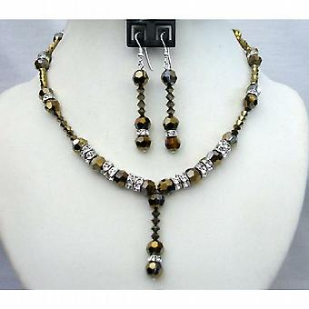 Expresso Dorado Crystals Wedding Party Bridal Handcrafted Necklace Set
