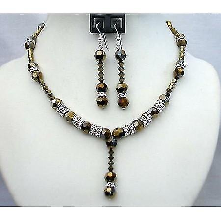 Expresso Dorado Crystals Wedding Party Bridal Handcrafted Necklace Set