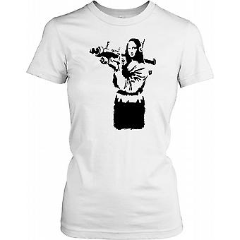 Banksy - Mona Lisa With Anti Air Missile - Urban Artist Ladies T Shirt