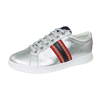 Geox D Jaysen A Womens Leather Trainers / Shoes - Metallic Silver