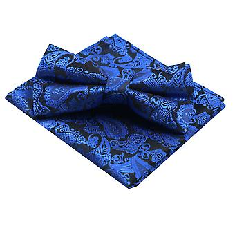 Bright blue paisley men's tied bow tie & pocket square
