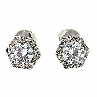 Toc Sterling Silver Hexagon Crystal MicroPave Handmade Stud Earrings