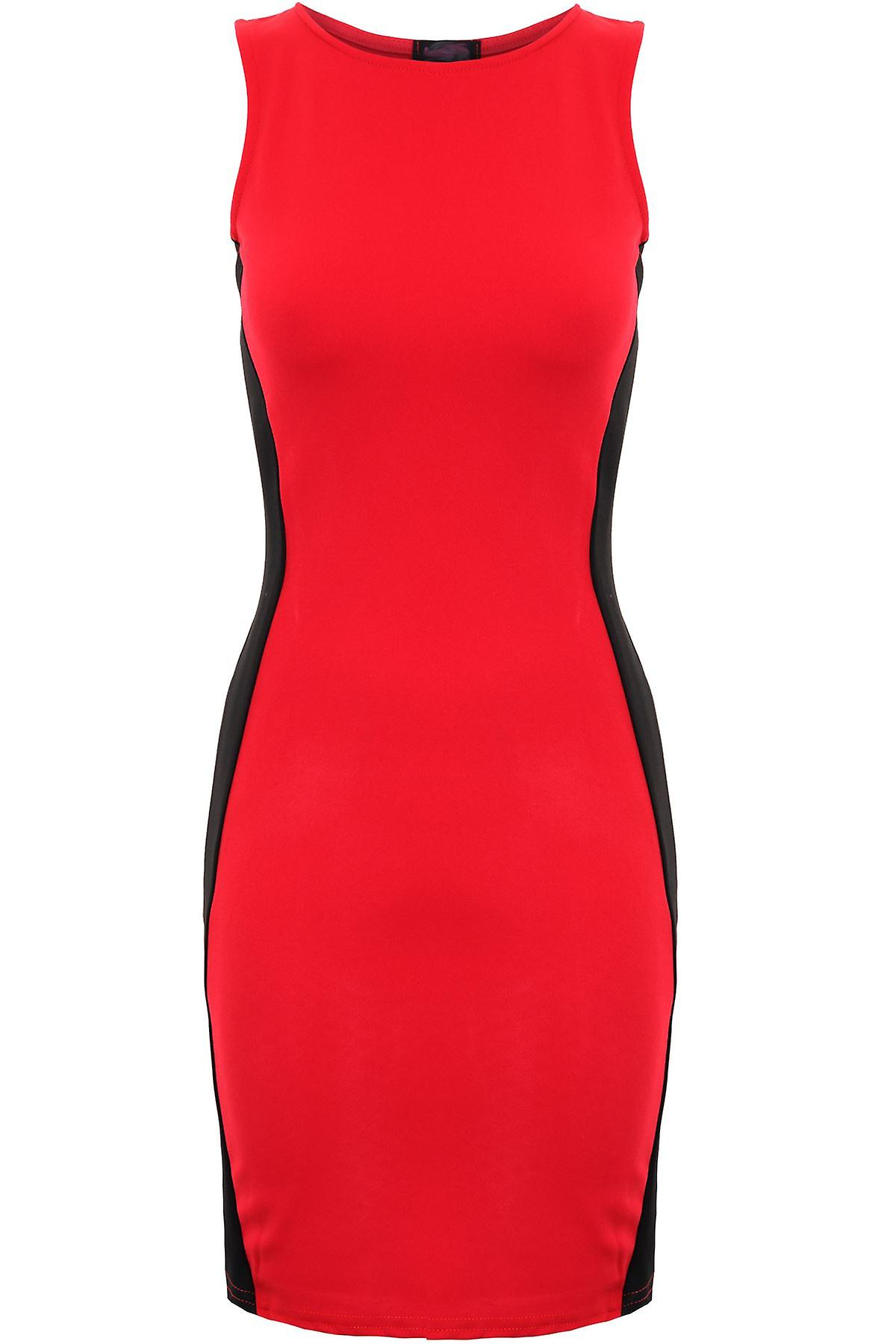 Ladies Celeb Bodycon Party Contrast Optical Illusion Slim Towie Women's Dress
