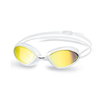Head Tiger Mid Race Swim Goggle - Smoke Mirrored Lenses - White