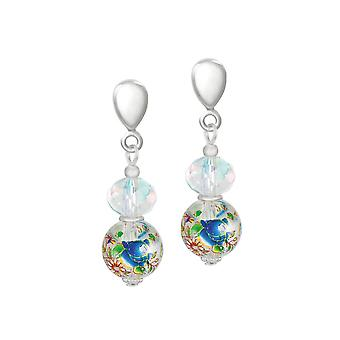 Eternal Collection Serene Clear/Blue Floral Glass And Crystal Silver Tone Drop Clip On Earrings