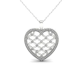 IGI Certified 10K White Gold 0.25ct TDW Diamond Heart Filigree Fashion Necklace