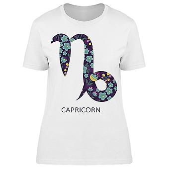 Zodiac Sign Floral Capricorn Tee Women's -Image by Shutterstock