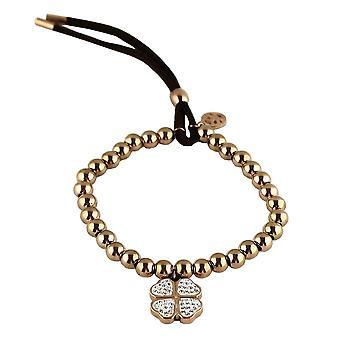 Bracelet four-leaf clover luck Bling/rhinestones/rhinestones Gold