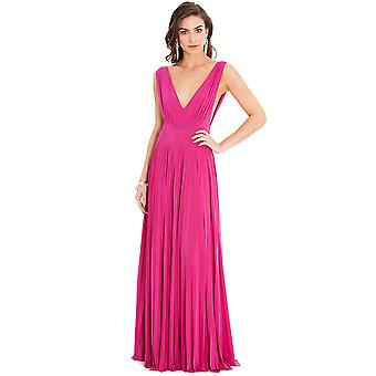 Low V Neck Plissee Maxi Kleid