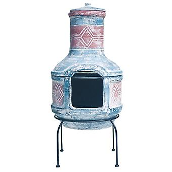 La Hacienda Geometric Medium Blue & Red Clay Chimenea with Grill
