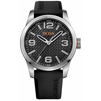 Hugo Boss Orange Mens Paris Black Rubber Strap Black Dial 1513350 Watch