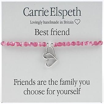 Carrie Elspeth Best Friend Double Heart Sentiments Stretch Bracelet