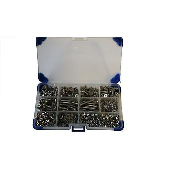 370Pc Stainless Steel Countersunk Socket Setscrews With Washers and Nuts M6 6MM