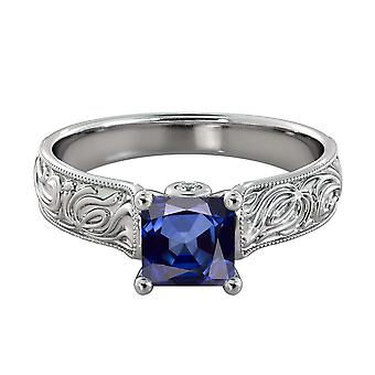 1.06 ctw Blue Sapphire Ring with Diamonds 14K White Gold Filigree Cathedral Princess