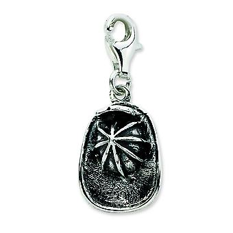 Sterling Silver 3-d Antiqued Firemans Hat With Lobster Clasp Charm - Measures 26x11mm