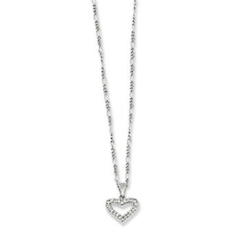 Gift Boxed Spring Ring Rhodium-plated Cubic Zirconia Heart Necklace - 18 Inch