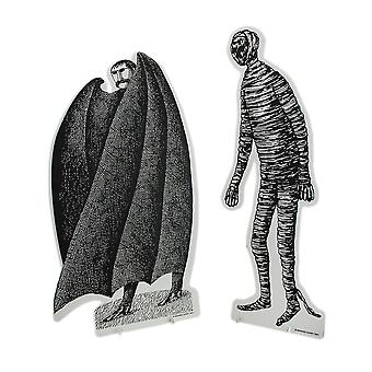Set of 2 Black & White Edward Gorey Vampire and Mummy Cardboard Cutouts