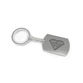 Nickel Plated Keychain for Dad - Super Dad Glossy Finish Father's Day Gift