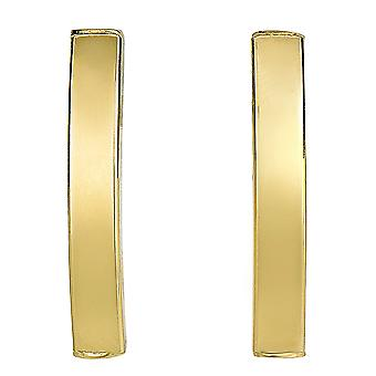 14k Yellow Gold Curved Tube Rectangular Climber Bar Style Stud Earrings