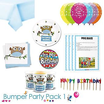 Little Owl Boy Birthday Wishes Party Tableware Bumper Pack 1