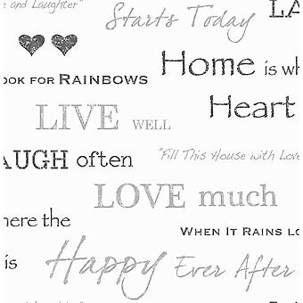 Fine Decor Black Wall Words Quotes Live Love Laugh Design Feature Wallpaper